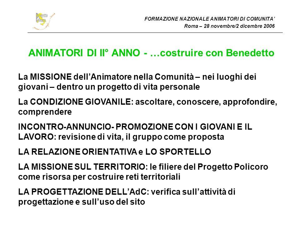 FORMAZIONE NAZIONALE ANIMATORI DI COMUNITA Roma – 28 novembre/2 dicembre 2006 ANIMATORI DI II° ANNO - …costruire con Benedetto La MISSIONE dellAnimato