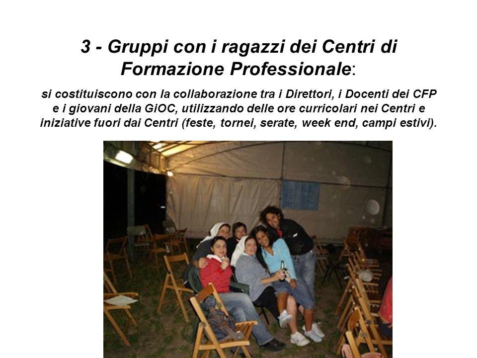 4 - Gruppi di giovani in Parrocchia: gruppi che nascono nella continuità formativa dopo la Cresima, o a partire dalla preparazione alla Cresima (quando viene proposta alletà di 18-30 anni).