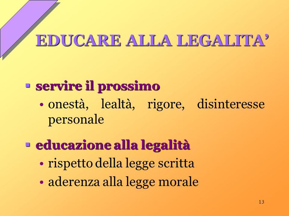 13 EDUCARE ALLA LEGALITA servire il prossimo servire il prossimo onestà, lealtà, rigore, disinteresse personale educazione alla legalità educazione alla legalità rispetto della legge scritta aderenza alla legge morale