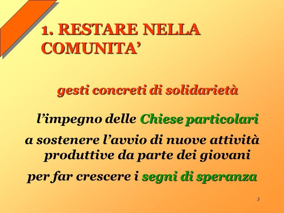 3 1. RESTARE NELLA COMUNITA gesti concreti di solidarietà Chiese particolari limpegno delle Chiese particolari a sostenere lavvio di nuove attività pr