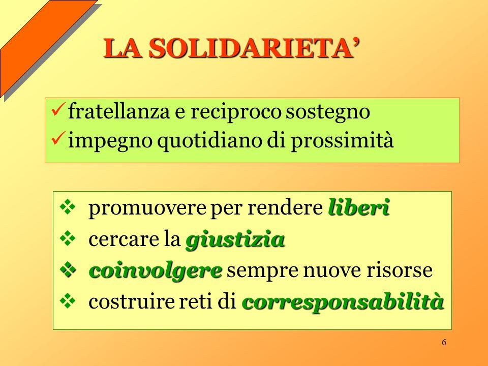 6 LA SOLIDARIETA liberi promuovere per rendere liberi giustizia cercare la giustizia coinvolgere coinvolgere sempre nuove risorse corresponsabilità co