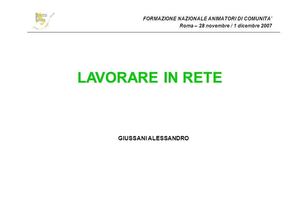 FORMAZIONE NAZIONALE ANIMATORI DI COMUNITA Roma – 28 novembre / 1 dicembre 2007 LAVORARE IN RETE GIUSSANI ALESSANDRO