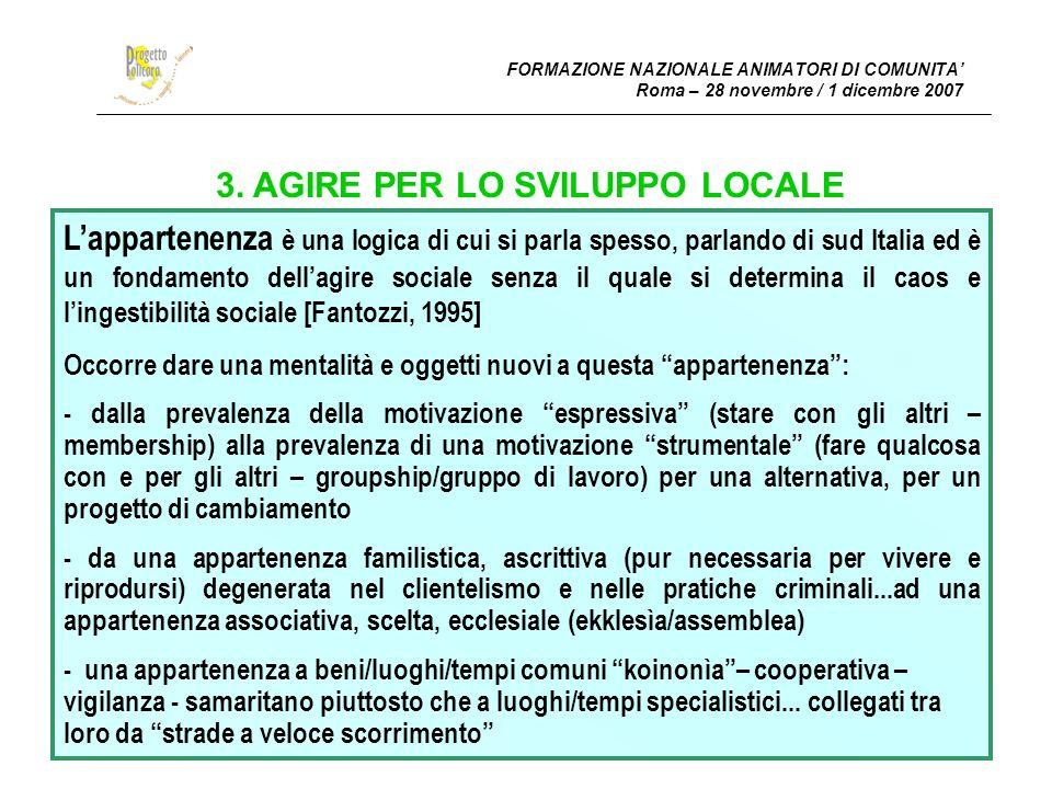 FORMAZIONE NAZIONALE ANIMATORI DI COMUNITA Roma – 28 novembre / 1 dicembre 2007 3.
