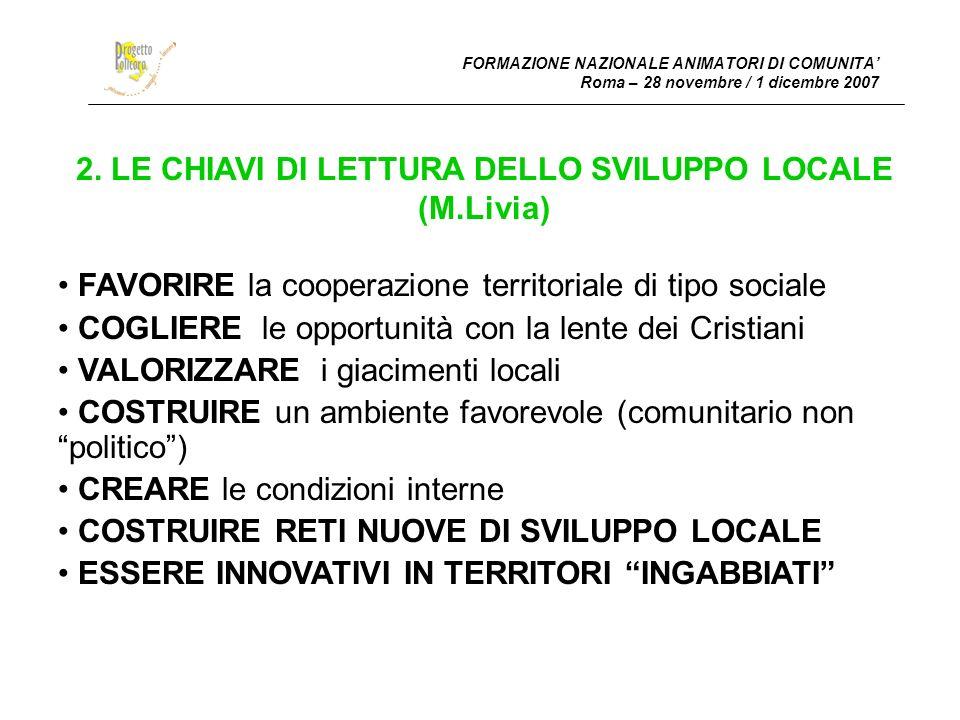 FORMAZIONE NAZIONALE ANIMATORI DI COMUNITA Roma – 28 novembre / 1 dicembre 2007 2.
