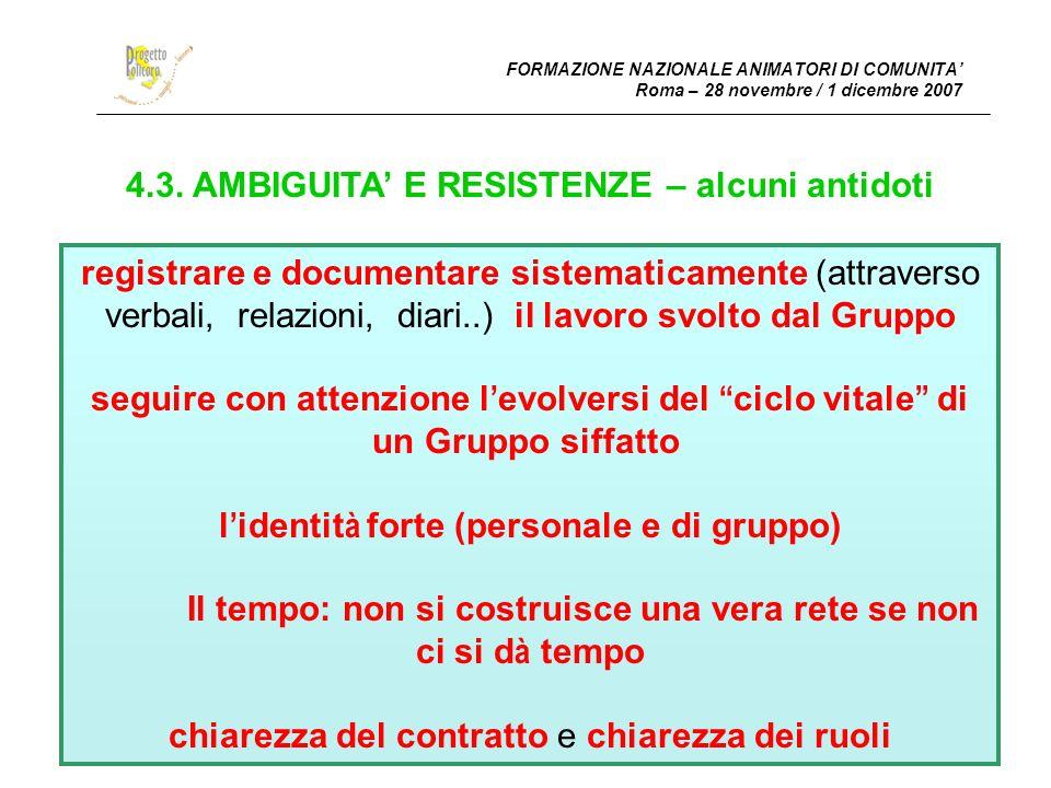 FORMAZIONE NAZIONALE ANIMATORI DI COMUNITA Roma – 28 novembre / 1 dicembre 2007 4.3.