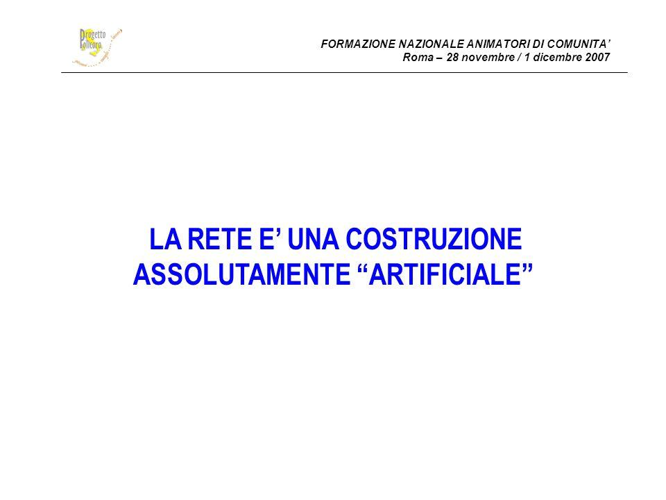 FORMAZIONE NAZIONALE ANIMATORI DI COMUNITA Roma – 28 novembre / 1 dicembre 2007 LA RETE E UNA COSTRUZIONE ASSOLUTAMENTE ARTIFICIALE