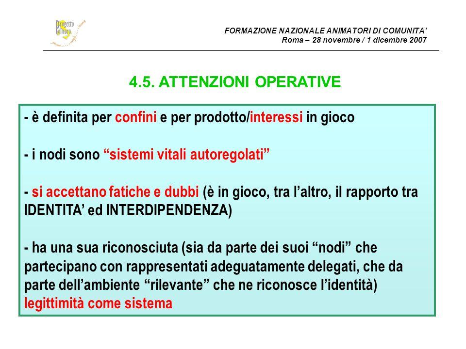 FORMAZIONE NAZIONALE ANIMATORI DI COMUNITA Roma – 28 novembre / 1 dicembre 2007 4.5.