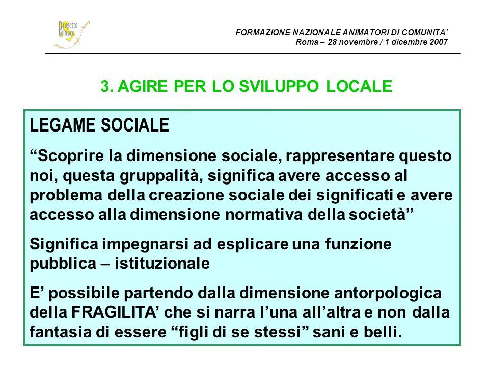 FORMAZIONE NAZIONALE ANIMATORI DI COMUNITA Roma – 28 novembre / 1 dicembre 2007 4.1.