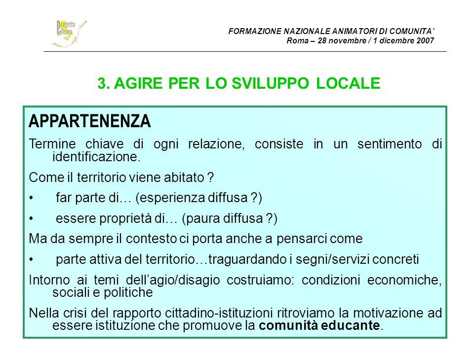 FORMAZIONE FORMAZIONE NAZIONALE ANIMATORI DI COMUNITA Roma – 28 novembre / 1 dicembre 2007 4.5.