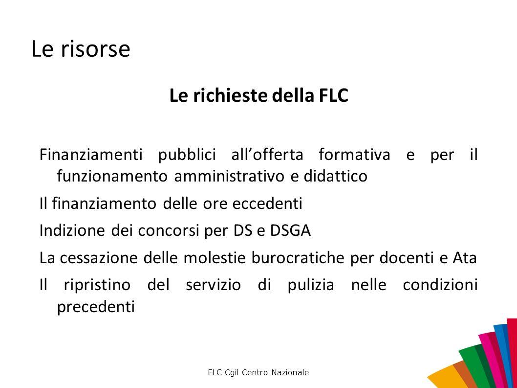 FLC Cgil Centro Nazionale Le risorse Le richieste della FLC Finanziamenti pubblici allofferta formativa e per il funzionamento amministrativo e didatt