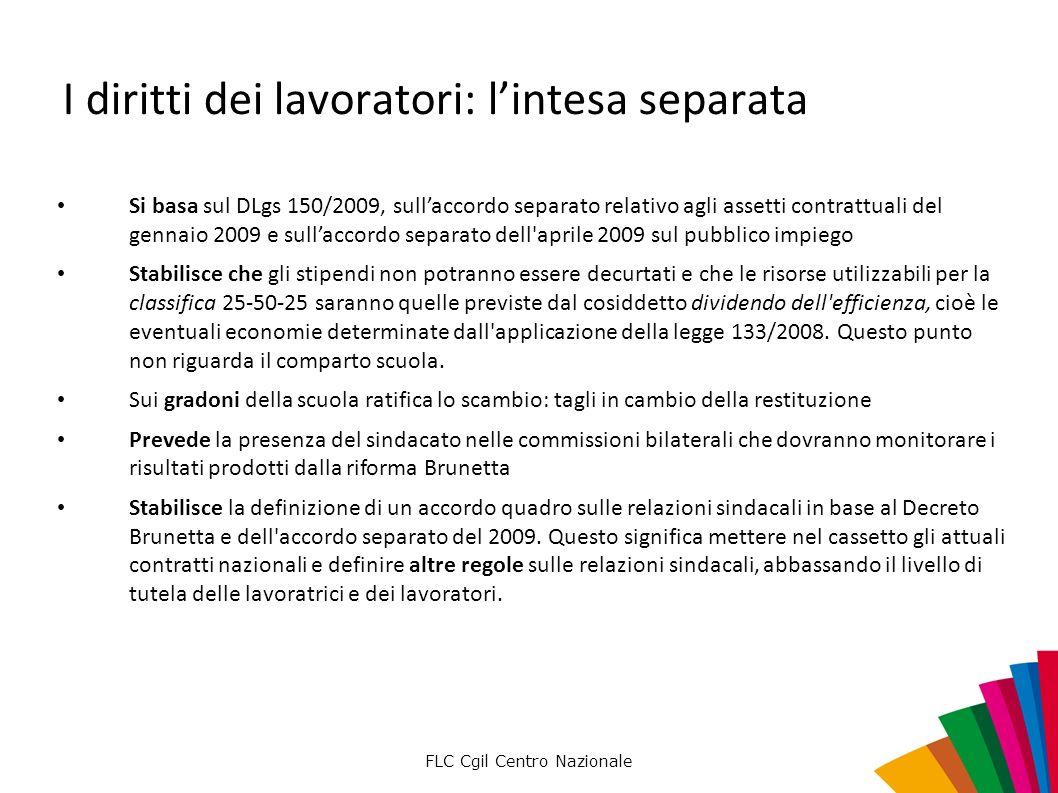 FLC Cgil Centro Nazionale I diritti dei lavoratori: lintesa separata Si basa sul DLgs 150/2009, sullaccordo separato relativo agli assetti contrattual