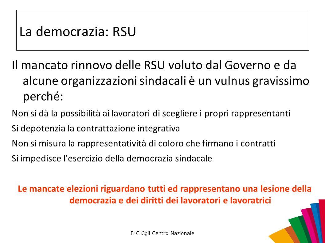 FLC Cgil Centro Nazionale La democrazia: RSU Il mancato rinnovo delle RSU voluto dal Governo e da alcune organizzazioni sindacali è un vulnus gravissi