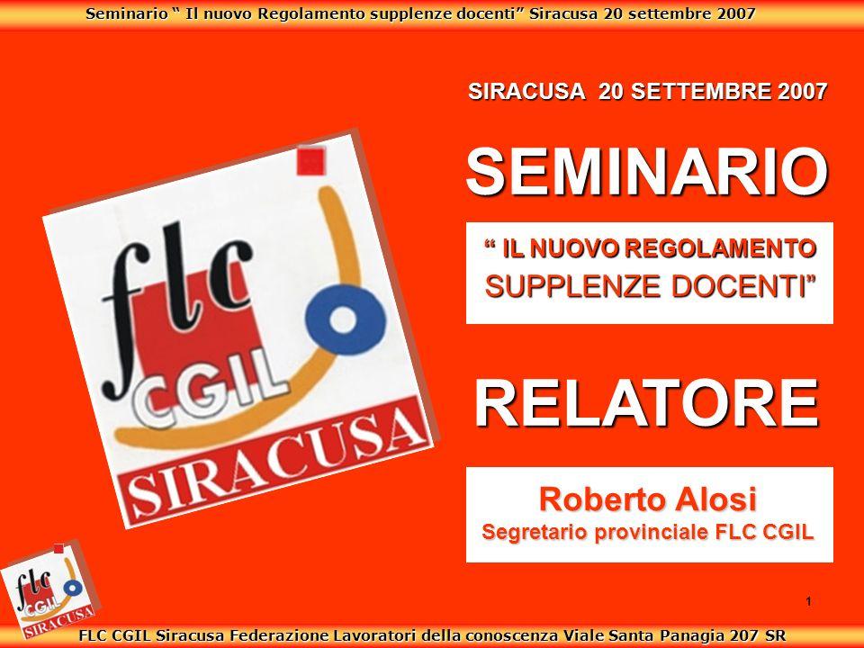 Seminario Il nuovo Regolamento supplenze docenti Siracusa 20 settembre 2007 FLC CGIL Siracusa Federazione Lavoratori della conoscenza Viale Santa Pana