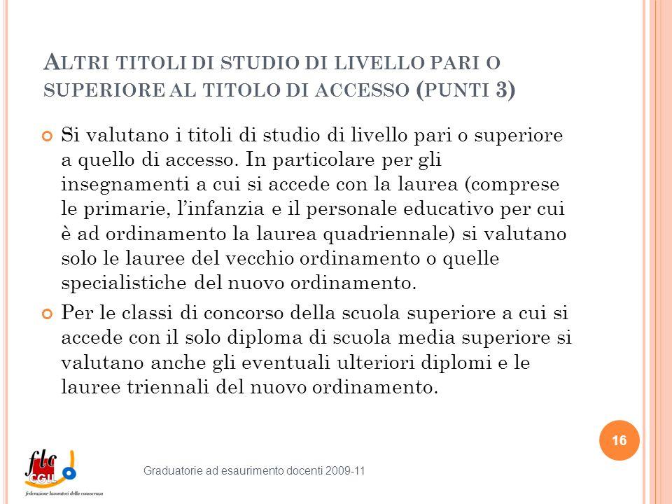 A LTRI TITOLI DI STUDIO DI LIVELLO PARI O SUPERIORE AL TITOLO DI ACCESSO ( PUNTI 3) Si valutano i titoli di studio di livello pari o superiore a quello di accesso.