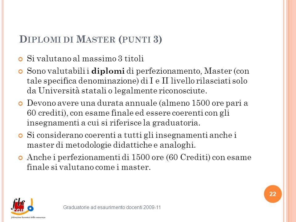 D IPLOMI DI M ASTER ( PUNTI 3) Si valutano al massimo 3 titoli Sono valutabili i diplomi di perfezionamento, Master (con tale specifica denominazione) di I e II livello rilasciati solo da Università statali o legalmente riconosciute.