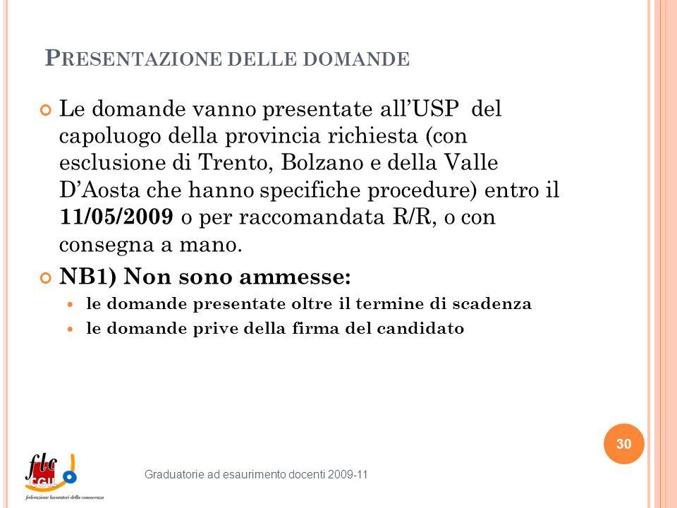 P RESENTAZIONE DELLE DOMANDE Le domande vanno presentate allUSP del capoluogo della provincia richiesta (con esclusione di Trento, Bolzano e della Valle DAosta che hanno specifiche procedure) entro il 11/05/2009 o per raccomandata R/R, o con consegna a mano.