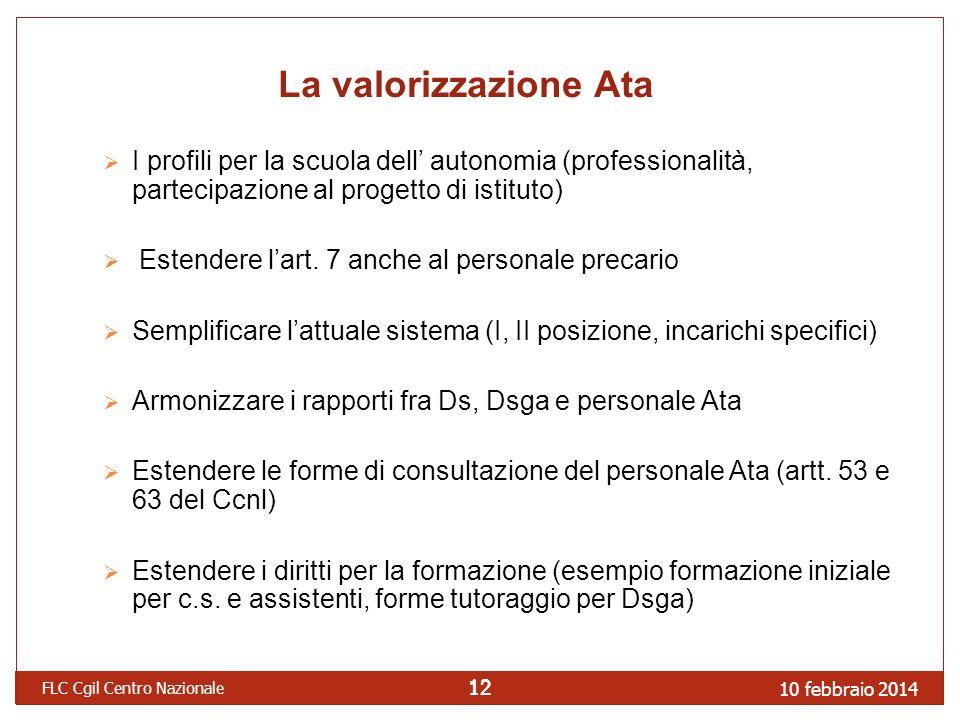 10 febbraio 2014 FLC Cgil Centro Nazionale 12 La valorizzazione Ata I profili per la scuola dell autonomia (professionalità, partecipazione al progetto di istituto) Estendere lart.
