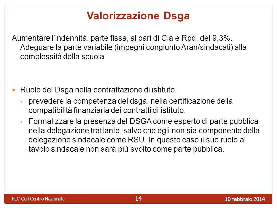 10 febbraio 2014 FLC Cgil Centro Nazionale 14 Valorizzazione Dsga Aumentare lindennità, parte fissa, al pari di Cia e Rpd, del 9,3%.
