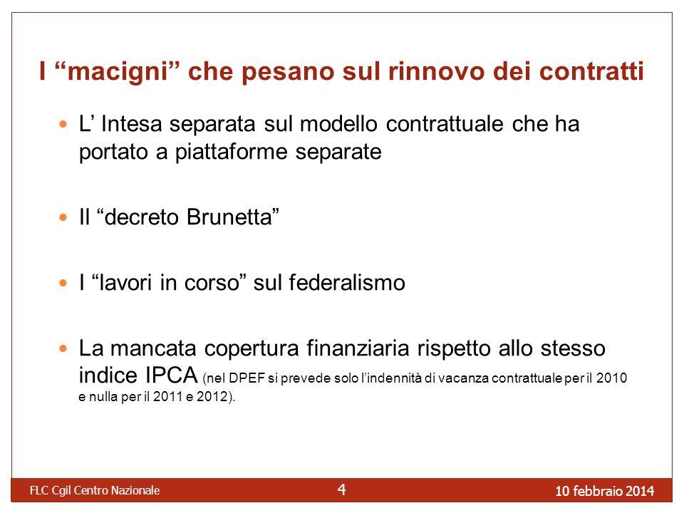 10 febbraio 2014 FLC Cgil Centro Nazionale 4 I macigni che pesano sul rinnovo dei contratti L Intesa separata sul modello contrattuale che ha portato