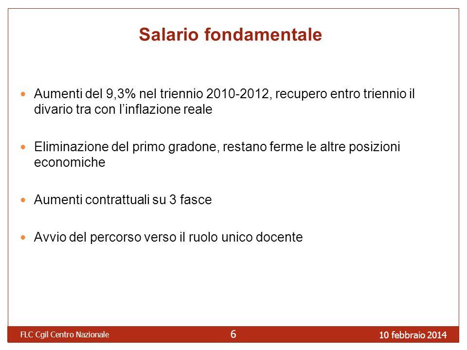 10 febbraio 2014 FLC Cgil Centro Nazionale 6 Salario fondamentale Aumenti del 9,3% nel triennio 2010-2012, recupero entro triennio il divario tra con