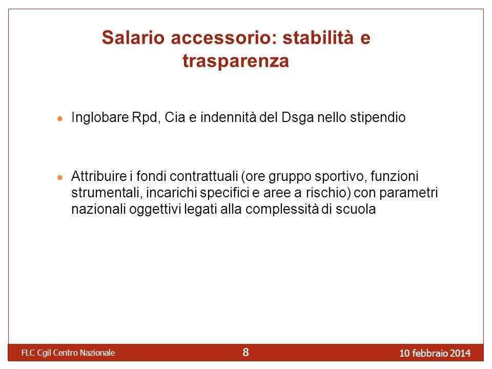 10 febbraio 2014 FLC Cgil Centro Nazionale 88 Salario accessorio: stabilità e trasparenza Inglobare Rpd, Cia e indennità del Dsga nello stipendio Attr