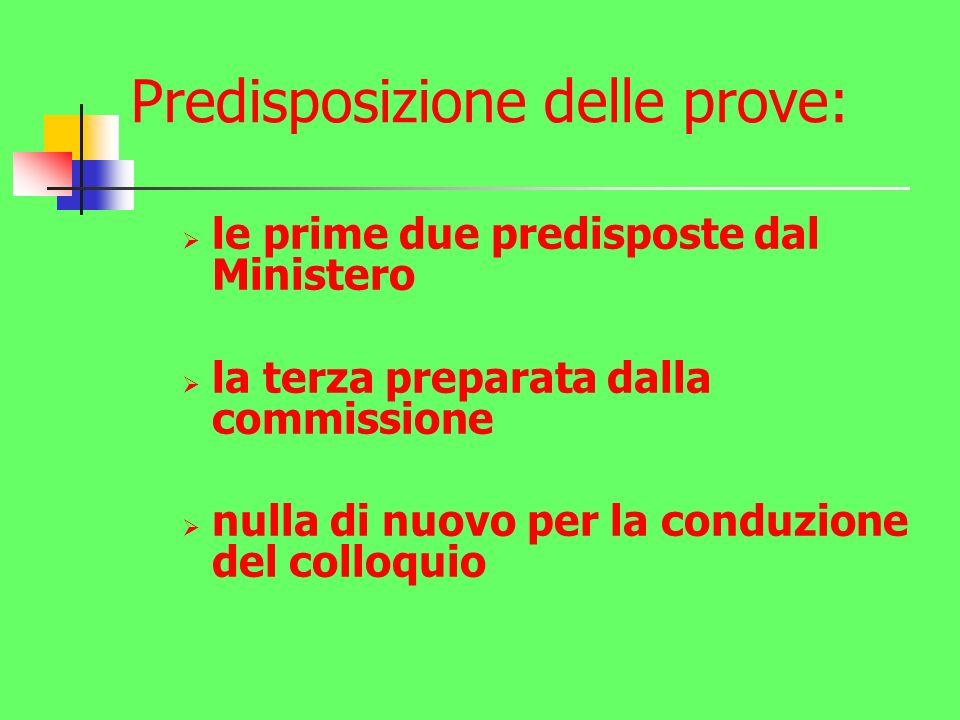 Predisposizione delle prove: le prime due predisposte dal Ministero la terza preparata dalla commissione nulla di nuovo per la conduzione del colloquio