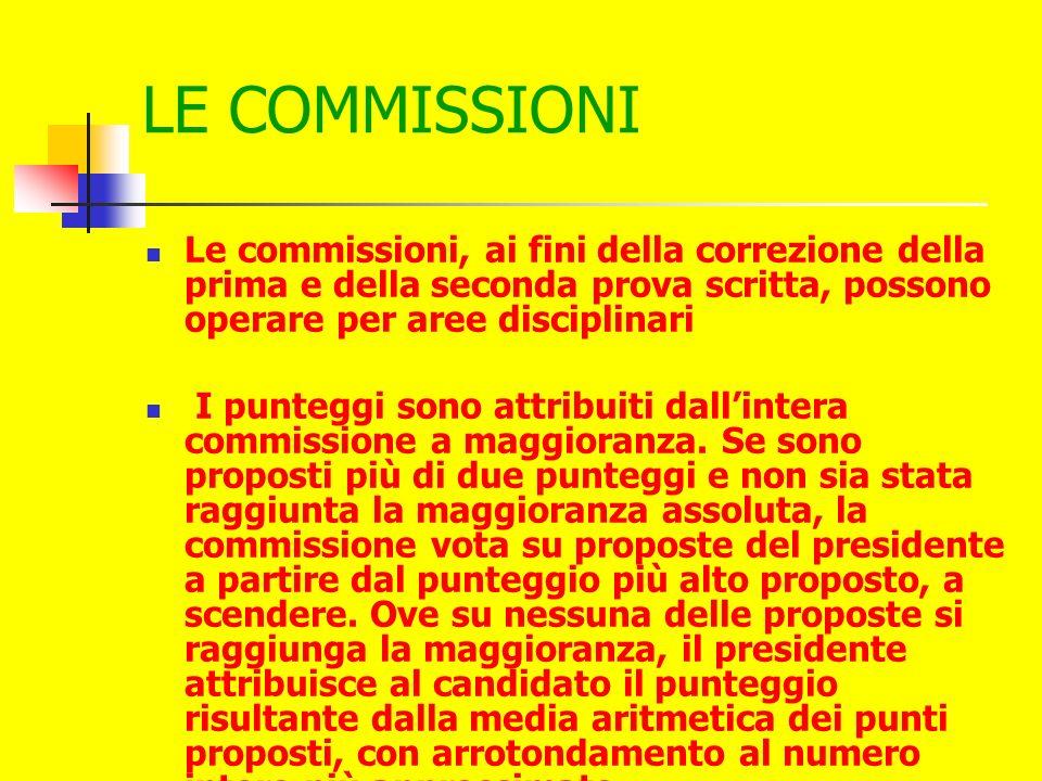 LE COMMISSIONI Le commissioni, ai fini della correzione della prima e della seconda prova scritta, possono operare per aree disciplinari I punteggi sono attribuiti dallintera commissione a maggioranza.