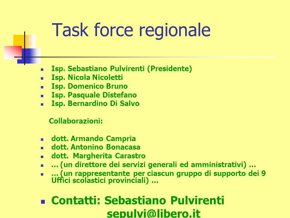 Task force regionale Isp. Sebastiano Pulvirenti (Presidente) Isp.