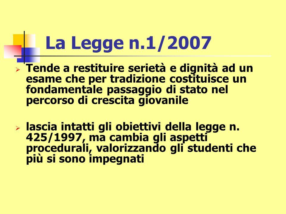 La Legge n.1/2007 Tende a restituire serietà e dignità ad un esame che per tradizione costituisce un fondamentale passaggio di stato nel percorso di crescita giovanile lascia intatti gli obiettivi della legge n.