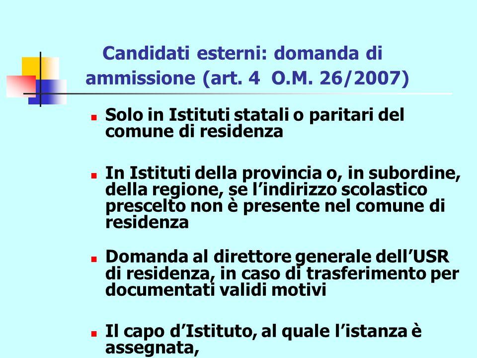 Candidati esterni: domanda di ammissione (art. 4 O.M.
