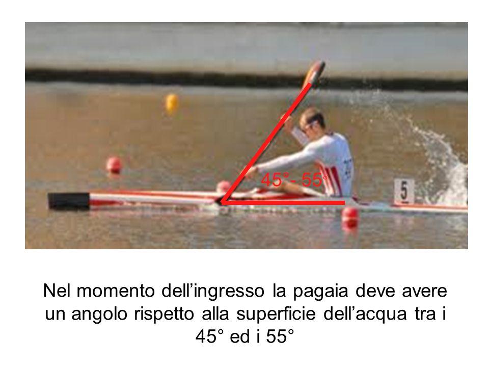 Nel momento dellingresso la pagaia deve avere un angolo rispetto alla superficie dellacqua tra i 45° ed i 55° 45°- 55 °