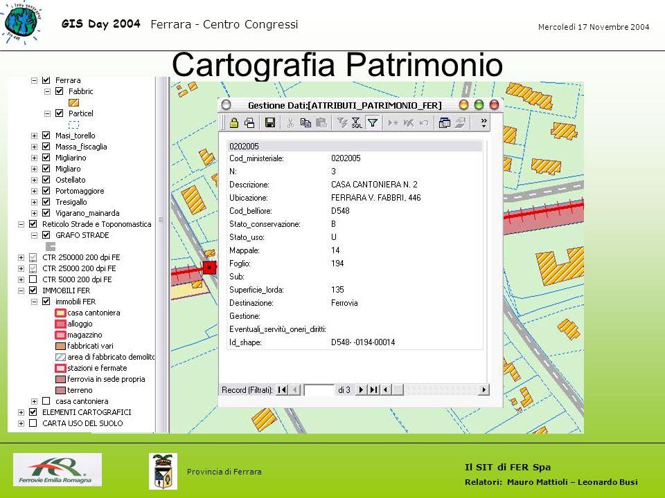 Cartografia Patrimonio GIS Day 2004 Il SIT di FER Spa Relatori: Mauro Mattioli – Leonardo Busi Ferrara - Centro Congressi Mercoledì 17 Novembre 2004 Provincia di Ferrara