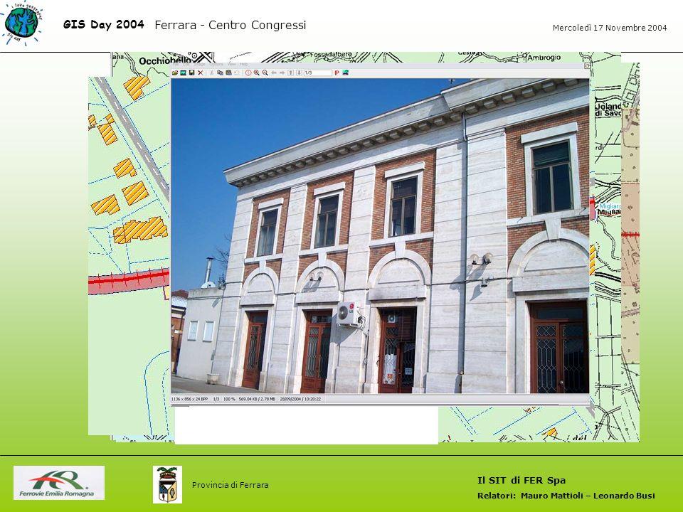GIS Day 2004 Il SIT di FER Spa Relatori: Mauro Mattioli – Leonardo Busi Ferrara - Centro Congressi Mercoledì 17 Novembre 2004 Provincia di Ferrara