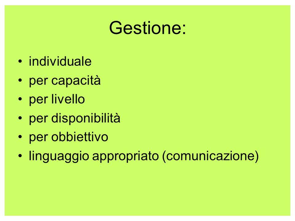 Gestione: individuale per capacità per livello per disponibilità per obbiettivo linguaggio appropriato (comunicazione)