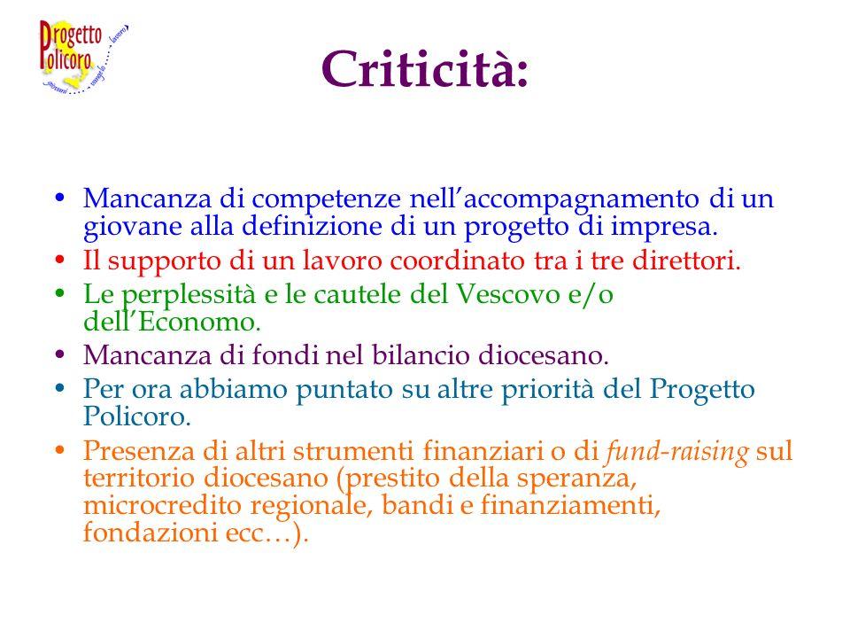 Criticità: Mancanza di competenze nellaccompagnamento di un giovane alla definizione di un progetto di impresa. Il supporto di un lavoro coordinato tr