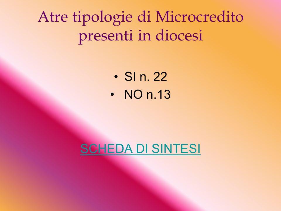 Atre tipologie di Microcredito presenti in diocesi SI n. 22 NO n.13 SCHEDA DI SINTESI