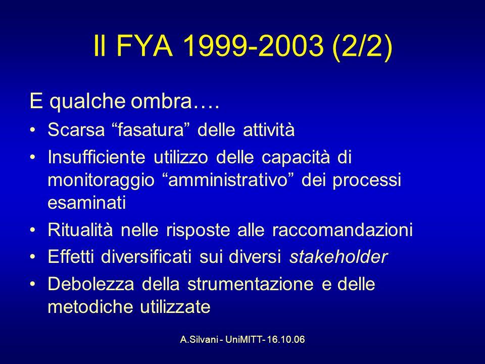 A.Silvani - UniMITT- 16.10.06 Il FYA 1999-2003 (2/2) E qualche ombra….