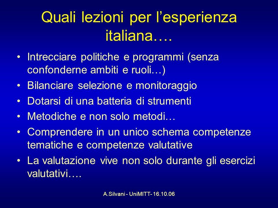 A.Silvani - UniMITT- 16.10.06 Quali lezioni per lesperienza italiana….