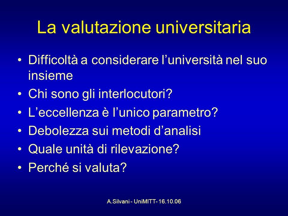A.Silvani - UniMITT- 16.10.06 La valutazione universitaria Difficoltà a considerare luniversità nel suo insieme Chi sono gli interlocutori.