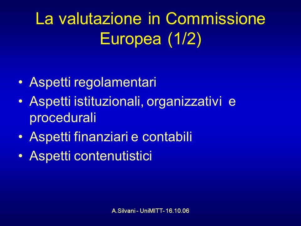A.Silvani - UniMITT- 16.10.06 La valutazione in Commissione Europea (2/2) Nuovi elementi: - la dimensione ex-ante - lestensione a tutte le attività (non solo la spesa) - il legame con la programmazione ed il management - lanalisi di impatto ex-ante - la ricerca di coerenza tra i diversi interventi - un investimento sulla formazione - la logica degli standard minimi - imparare concretamente dalle esperienze