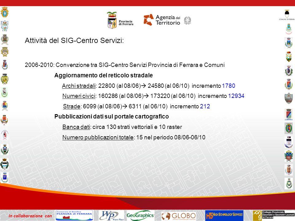 In collaborazione con Attività del SIG-Centro Servizi: 2006-2010: Convenzione tra SIG-Centro Servizi Provincia di Ferrara e Comuni Aggiornamento del reticolo stradale Archi stradali: 22800 (al 08/06) 24580 (al 06/10) incremento 1780 Numeri civici: 160286 (al 08/06) 173220 (al 06/10) incremento 12934 Strade: 6099 (al 08/06) 6311 (al 06/10) incremento 212 Pubblicazioni dati sul portale cartografico Banca dati: circa 130 strati vettoriali e 10 raster Numero pubblicazioni totale: 15 nel periodo 08/06-06/10