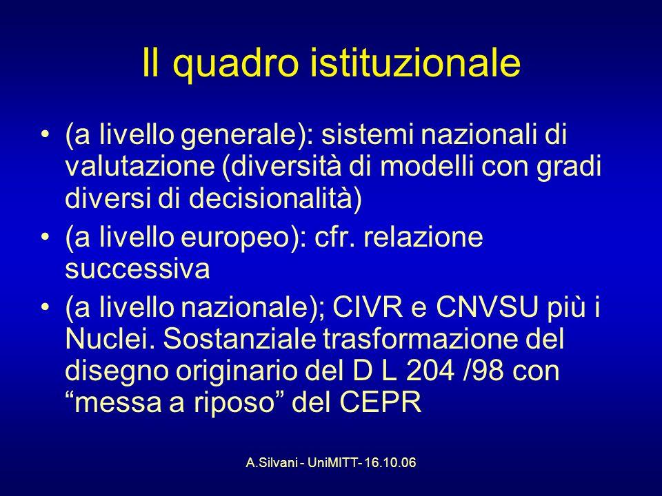 A.Silvani - UniMITT- 16.10.06 Il quadro istituzionale (a livello generale): sistemi nazionali di valutazione (diversità di modelli con gradi diversi di decisionalità) (a livello europeo): cfr.