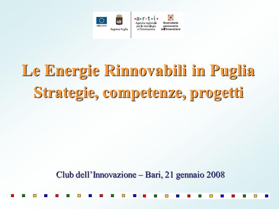 Le Energie Rinnovabili in Puglia Strategie, competenze, progetti Club dellInnovazione – Bari, 21 gennaio 2008