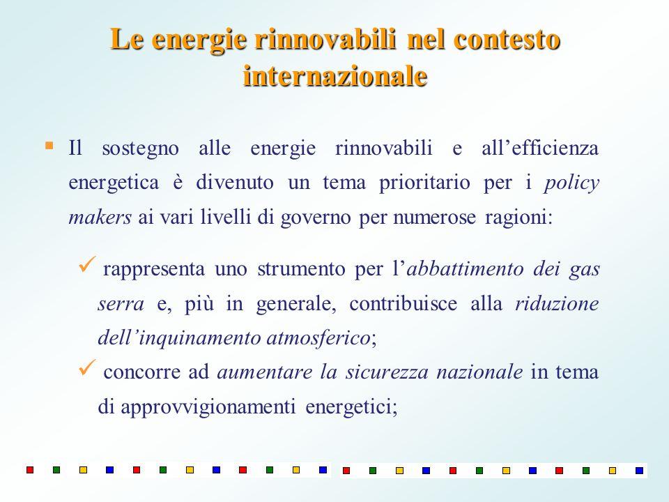 Le energie rinnovabili nel contesto internazionale Il sostegno alle energie rinnovabili e allefficienza energetica è divenuto un tema prioritario per