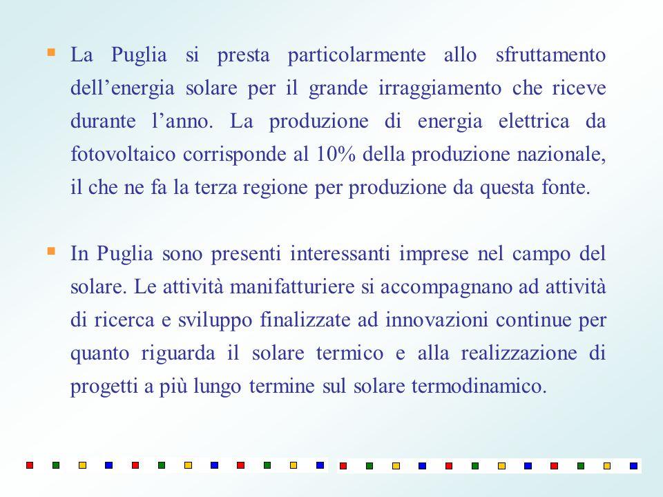La Puglia si presta particolarmente allo sfruttamento dellenergia solare per il grande irraggiamento che riceve durante lanno. La produzione di energi