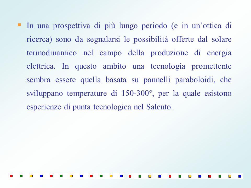 In una prospettiva di più lungo periodo (e in unottica di ricerca) sono da segnalarsi le possibilità offerte dal solare termodinamico nel campo della