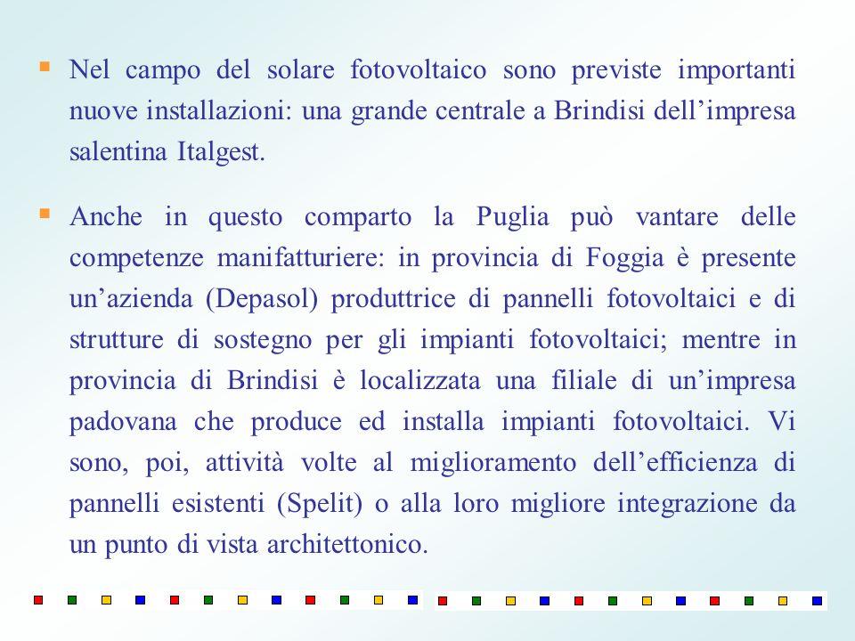 Nel campo del solare fotovoltaico sono previste importanti nuove installazioni: una grande centrale a Brindisi dellimpresa salentina Italgest. Anche i