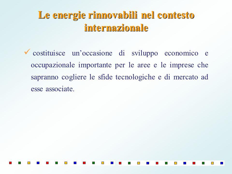 Le energie rinnovabili nel contesto internazionale costituisce unoccasione di sviluppo economico e occupazionale importante per le aree e le imprese c