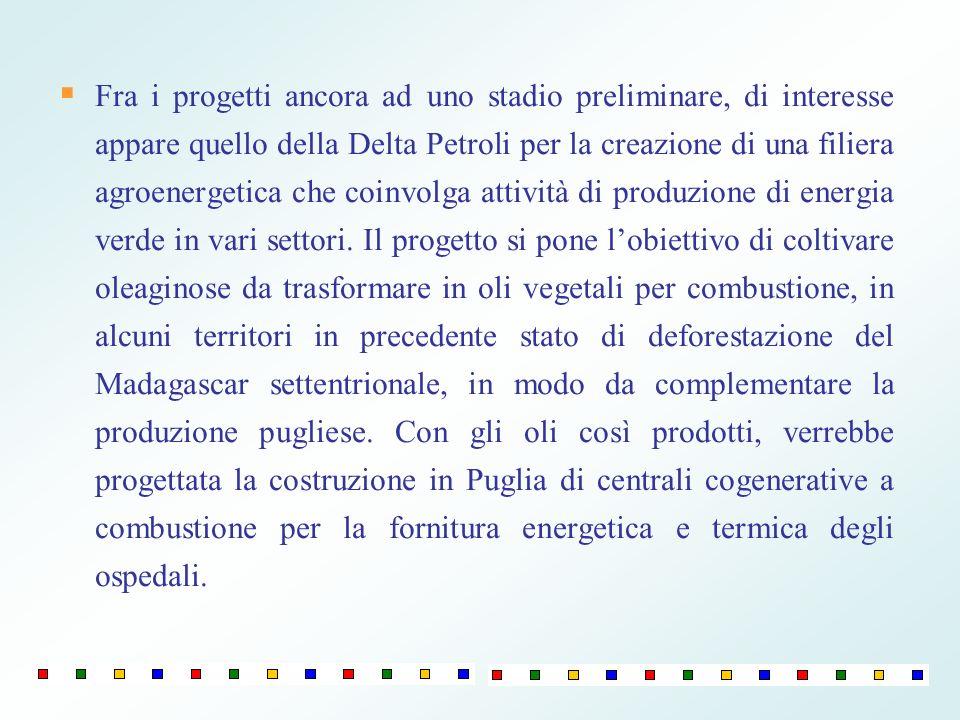 Fra i progetti ancora ad uno stadio preliminare, di interesse appare quello della Delta Petroli per la creazione di una filiera agroenergetica che coi