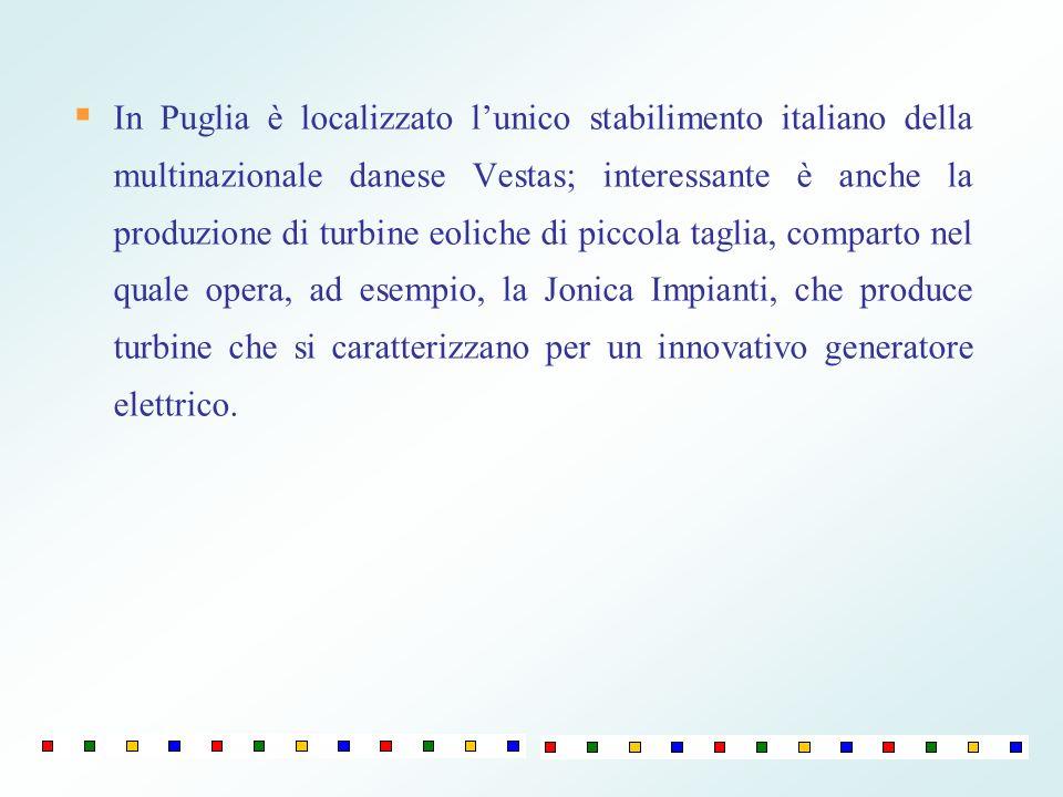 In Puglia è localizzato lunico stabilimento italiano della multinazionale danese Vestas; interessante è anche la produzione di turbine eoliche di picc